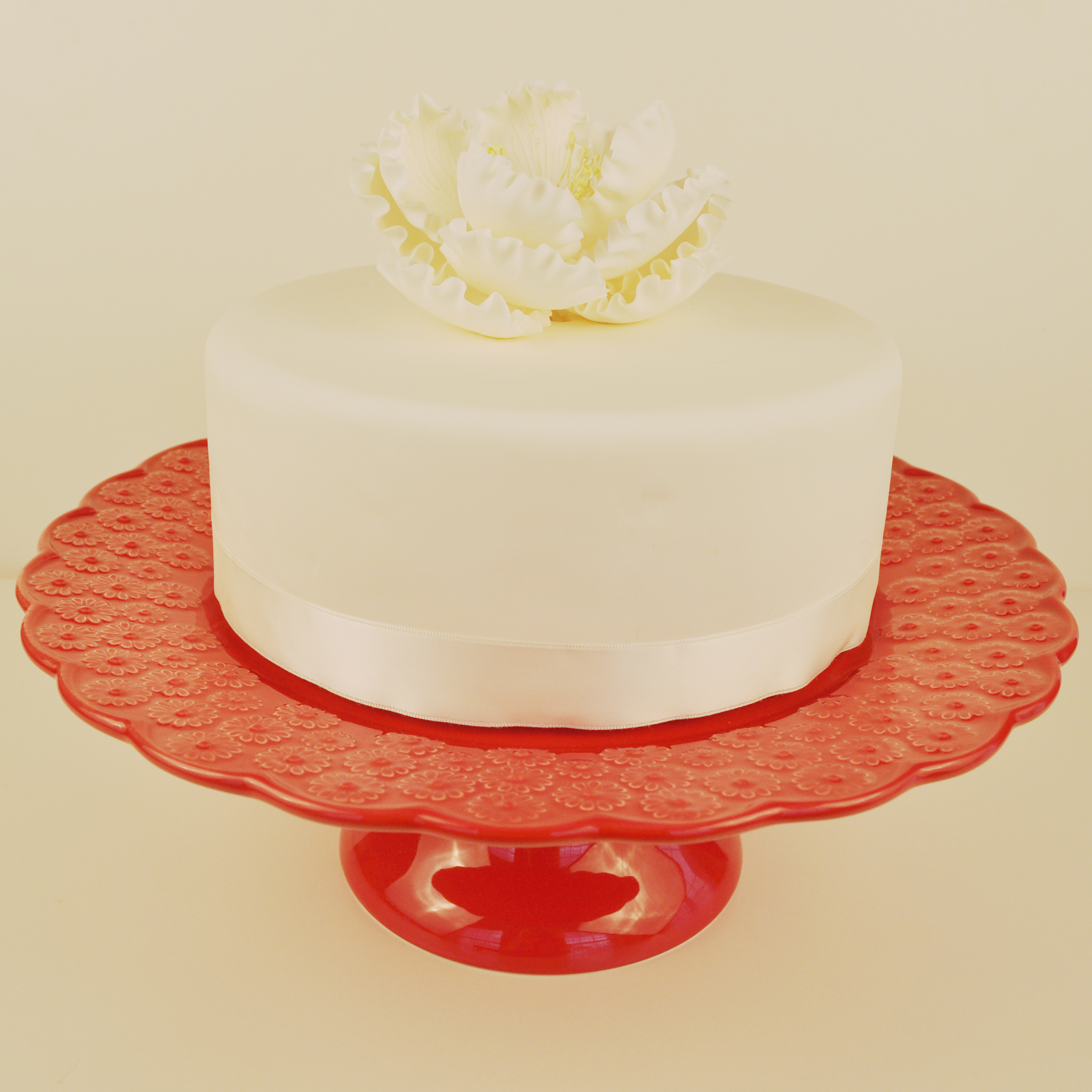 Bordallo Pinheiro Footed Cake Plate Ditsy Red